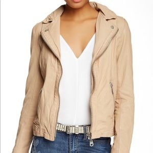 Domo Classic Leather Moto Jacket in 'Pale'
